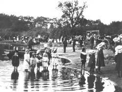 Children paddling in the River Leven, Balloch in Victorian times