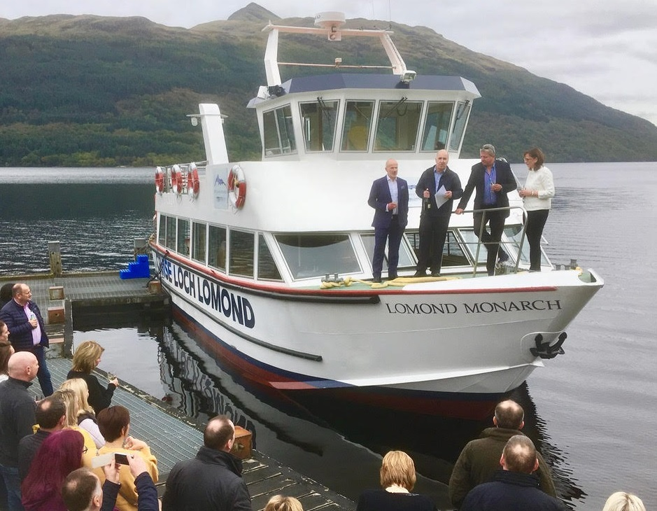 Stuart Cordner (left) and James Fraser (second left) launch MV Lomond Monarch, alongside Cruise Loch Lomond directors Fred Moore and Marie Cordner.