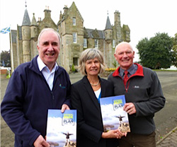 Pictured at the Park Plan launch(l to r) are Friends Chairman, James Fraser, Park Convener Linda McKay and Scottish campaign for National Parks Vice -Chairman, Ross Anderson